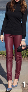 What colors/types of top & shoes/boots would be best with oxblood leggings?