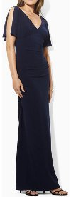 What color shoes & accessories should I wear with a Ralph Lauren Split-Sleeve Jersey Gown?