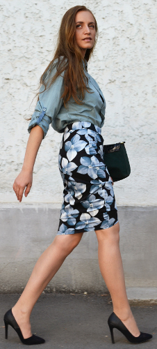 Can you wear a denim shirt with a floral skirt?
