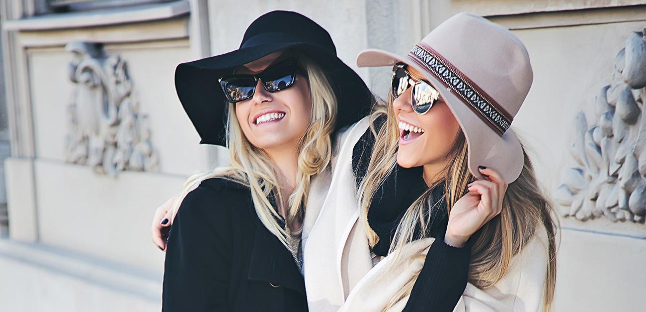 Girlfriends on the street having fun