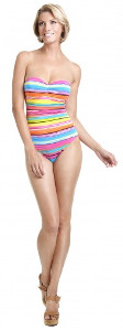 Strapless Striped Classic Swimsuit