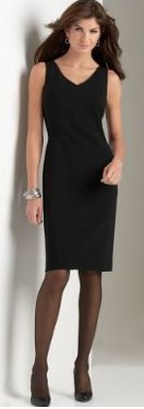 Can I wear a black cocktail dress with black hosiery or off black hosiery