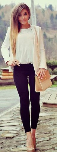 Can I wear my black mid length skirt with beige high heel pumps?