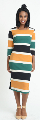 Color block print dress