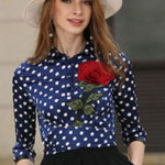 Will a navy blue & white polka dot blouse go with a black fitted skirt & black stockings
