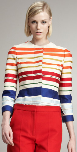 What can I wear with a jacket that has bold stripes?