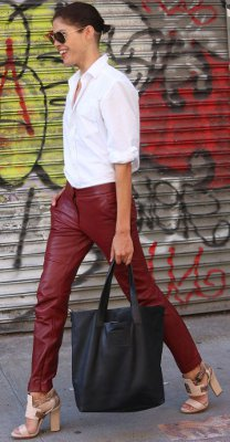 Can I wear burgundy leather / suede pants to a dinner party?