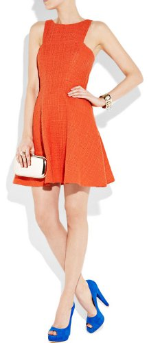 peach dress and blue shoes