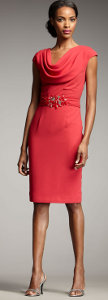 How can I accessorize a coral dress for a wedding in Southern California?