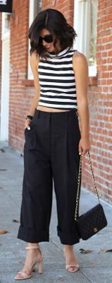 What can I wear with cropped flare pants?