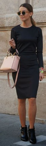 What color handbag looks best with a black dress with beige trim & gold accents?