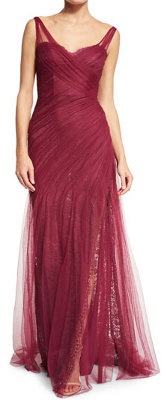 How can I accessorize a raspberry chiffon gown?
