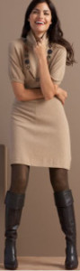 What color tights & boots would look good with a short sweater dress?