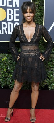 Fashions in black dominated The Golden Globe Awards