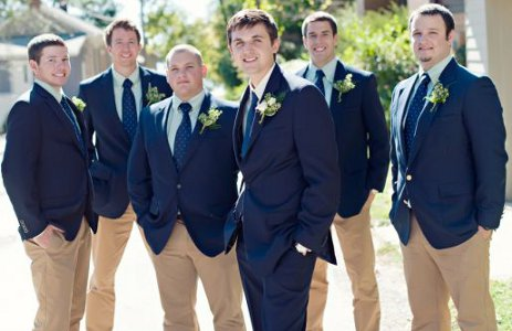What color should the groom & groomsmen wear at our wedding?