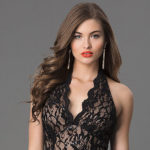 What necklace can I wear with a black lace halter gown?