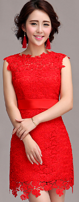 Poppy Color Lace Dress