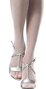 What style & color of stockings & shoes can be worn with a gray sequin dress?