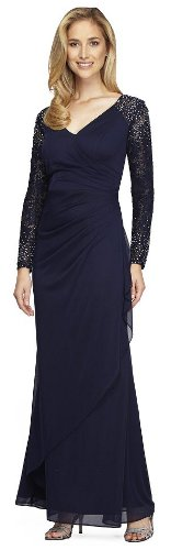 Where can my mother look for a long sleeve, long length, no slit, modern style gown?