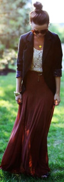 What kind & color of top would work with a maroon maxi skirt?
