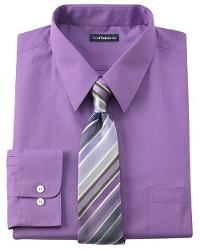 What color suit should I wear with a purple shirt & tie?