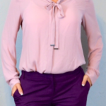 What color top can I wear with purple ankle pants for NYE?