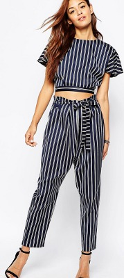 What can I wear with navy pin striped paperbag-waist pants?