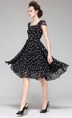 Can I wear a black & white polka dot chiffon dress to a formal night on a cruise?