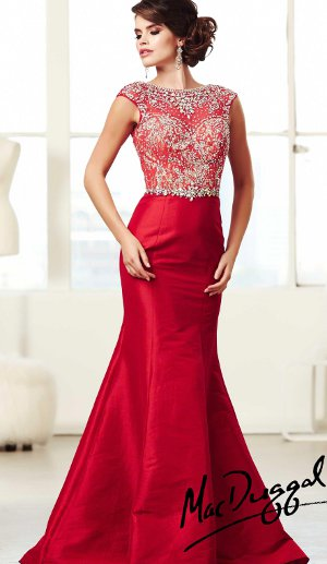 Red Embellished Prom Dress