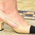 What can I wear with captoed, low-heeled slingback pumps?