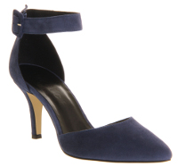 What color heels can I wear with a navy blue dress?