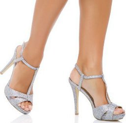Your slinky pewter dress sounds awesome. You have numerous options when it comes to shoe colors.