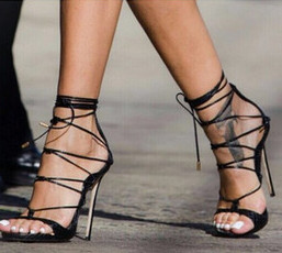 Strappy heels or high thick heels with a jumpsuit?