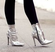 Can I wear silver shoes with a blue dress & black tights?