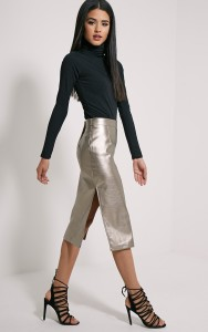 What can I wear with a silver metallic skirt?