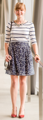 Is a striped top appropriate with a floral skirt?