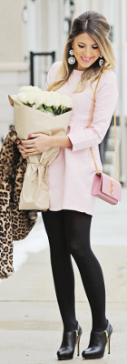 Is it chic to wear black tights with pastel & white clothes?